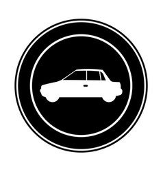 Monochrome circular frame with automobile in side vector