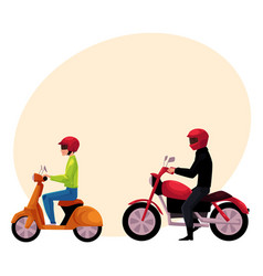 motorcycle motorbike and scooter drivers riders vector image