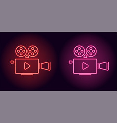 neon cinema projector in red and pink color vector image