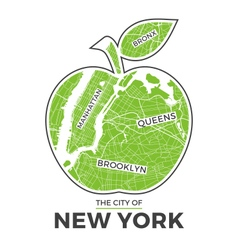 new york t shirt design green big apple with city vector image