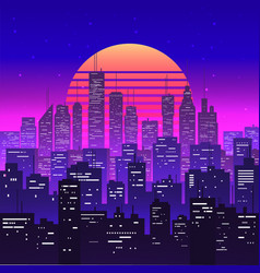 Night city landscape at purple neon retrowave or vector