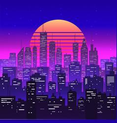 night city landscape at purple neon retrowave vector image