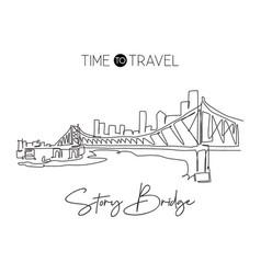 one single line drawing story bridge landmark vector image