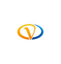 oval letter v logo vector image