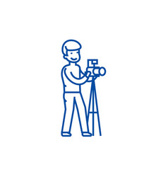 photographer with camera and line icon concept vector image