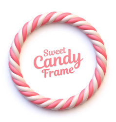 pink and white marshmallow candy circle frame vector image