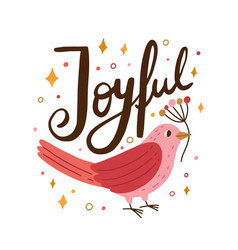 Pink beautiful bird holding branch festive card vector