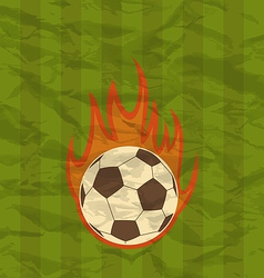 Retro football flyer with ball in fire flames vector