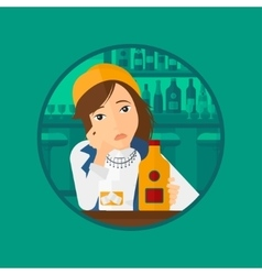 Sad woman drinking alcohol vector