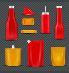 Sauce bottles packages transparent background vector