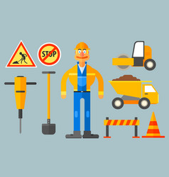 set with road worker and various equipment man in vector image