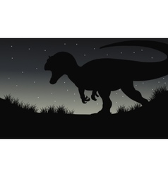 Silhouette of dilophosaurus at night vector