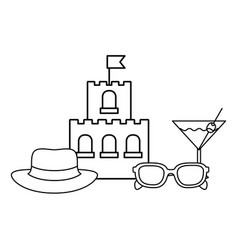 Silhouette sand castle on white background vector