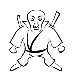sketch character ninja isolated on white vector image