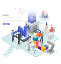 Solution concept background isometric style vector