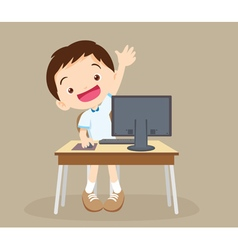 Student boy learning computer hand up vector