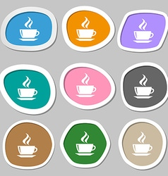 tea coffee icon symbols Multicolored paper vector image