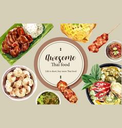 Thai food social media design with fried pork vector