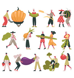 vegetarian diet lifestyle tiny people with fruits vector image