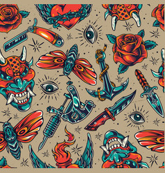 Vintage colorful tattoos seamless pattern vector