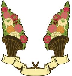 vintage horn plenty flowers vector image