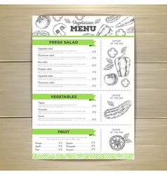 Vintage vegetarian food menu design vector