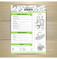 Vintage vegetarian food menu design vector image