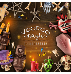 Voodoo magic realistic frame vector