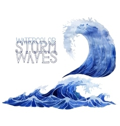 Watercolor storm waves set vector