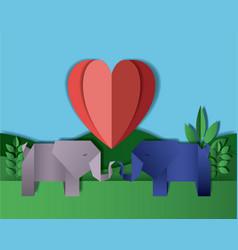 Wild life digital crafts in landscape vector