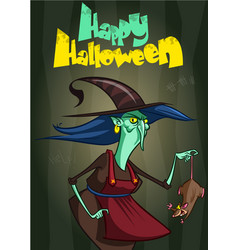 Witch on a broom postcard vector