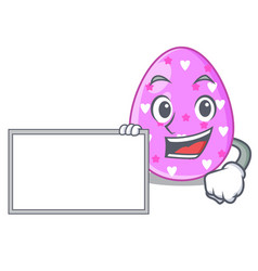 With board easter egg cartoon clipping on path vector