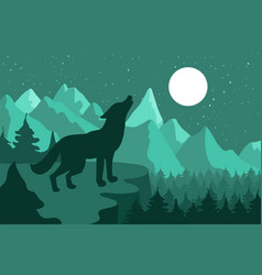 wolf in the night coniferous forest near the vector image