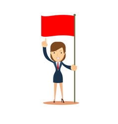 woman holding red flag vector image