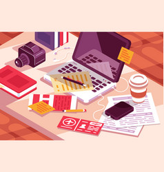 work desk in office vector image