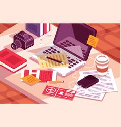 work desk in office vector image