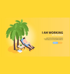working on beach banner vector image
