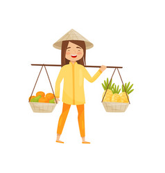 Young vietnamese girl carrying baskets with fruits vector