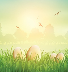 easter eggs in grass 1802 vector image vector image