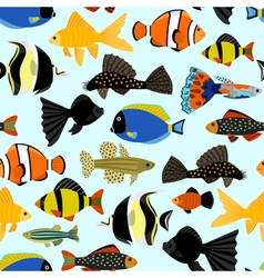 Fishes seamless pattern Cute cartoon aquarium fish vector image vector image