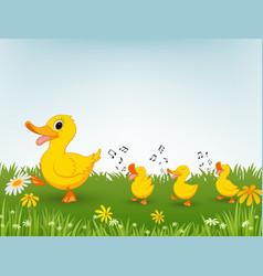 happy duck cartoon vector image