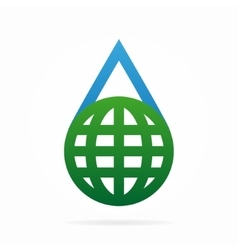 logo combination of a water and earth vector image vector image