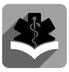 Medical Knowledge Flat Square Icon with Long vector image