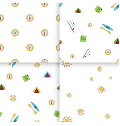 seamless pattern camping set vector image