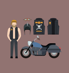 blond motorcyclist and classic blue motorcycle vector image