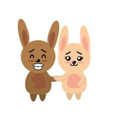 Cute couple rabbit wild animal with beautiful vector