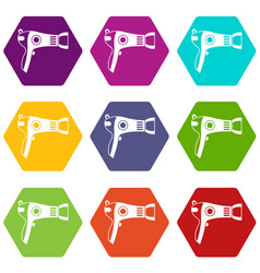 hairdryer icon set color hexahedron vector image