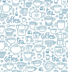 Tea and coffee pattern vector image vector image