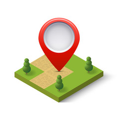 a navigation sign and pin symbol on city urban vector image vector image