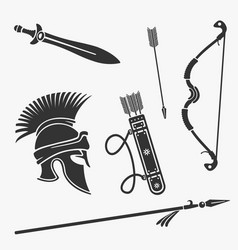 element set ancient weapon and armor vector image